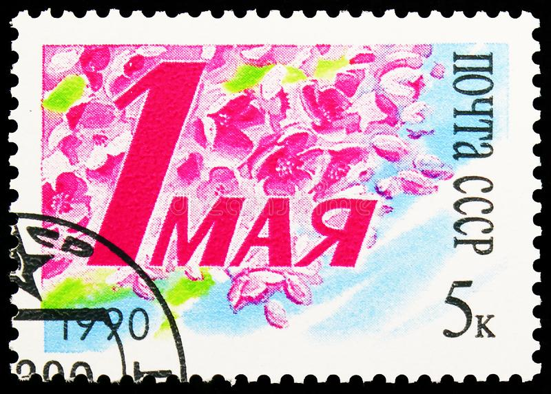 Labour Day, Labor Day Anniversaries serie, circa 1990. MOSCOW, RUSSIA - AUGUST 31, 2019: Postage stamp printed in Soviet Union Russia shows Labour Day, Labor Day royalty free stock images