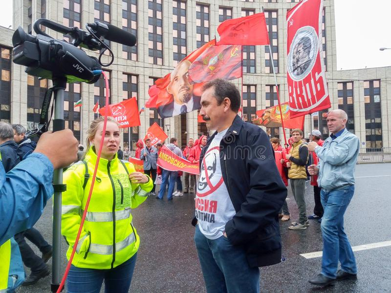 MOSCOW, RUSSIA,AUGUST ,17.2019: protest of the Communist opposition on Sakharov Avenue royalty free stock images