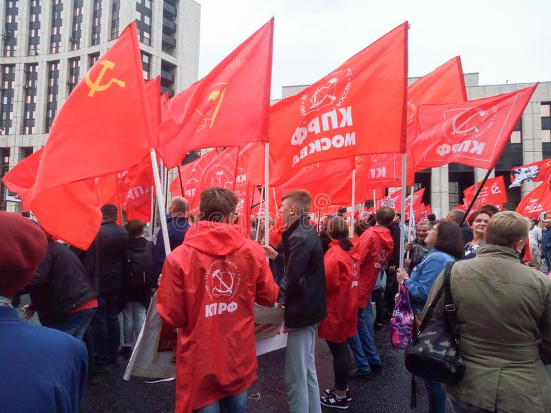 MOSCOW, RUSSIA,AUGUST ,17.2019: protest of the Communist opposition on Sakharov Avenue royalty free stock photos