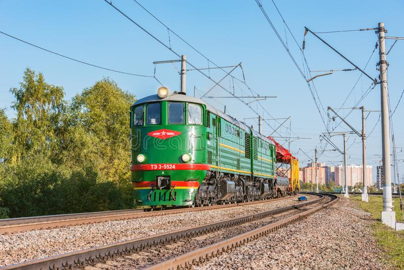 Retro diesel locomotive TE-3 at Pro-Motion-Expo exhibition. Locomotive TE-3 was made since 1954 stock photography