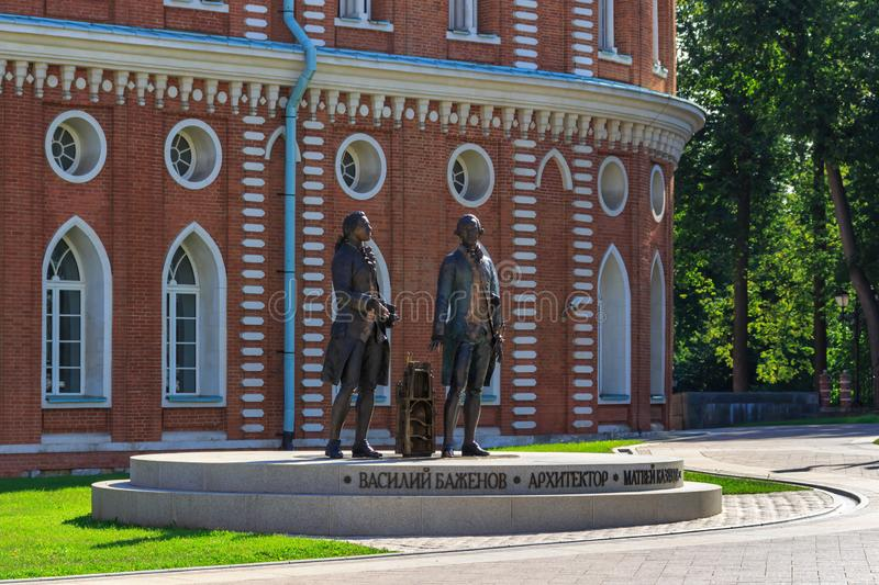 Moscow, Russia - August 12, 2018: Sculptural composition dedicated to the great architect Vasily Bazhenov and Matvey Kazakov in. Museum-reserve Tsaritsyno stock images