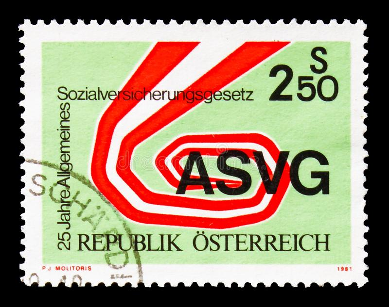 ASVG - symbolism, Social insurance serie, circa 1981. MOSCOW, RUSSIA - AUGUST 18, 2018: A stamp printed in Austria shows ASVG - symbolism, Social insurance serie royalty free stock images