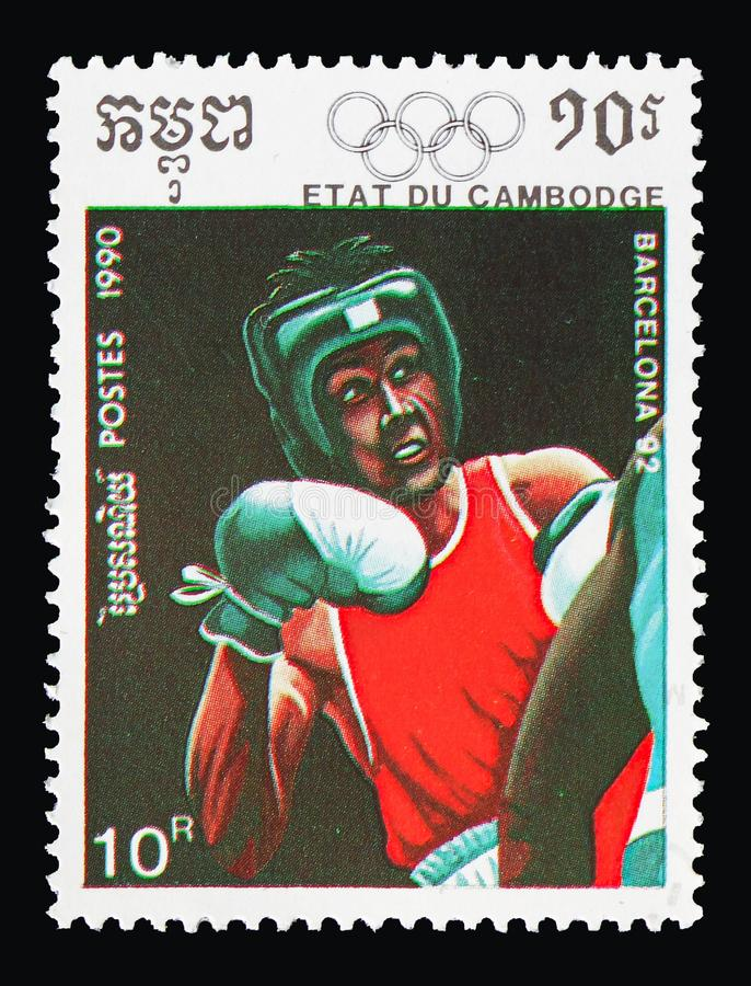 Boxing, Olympic Games serie, circa 1990 stock photo