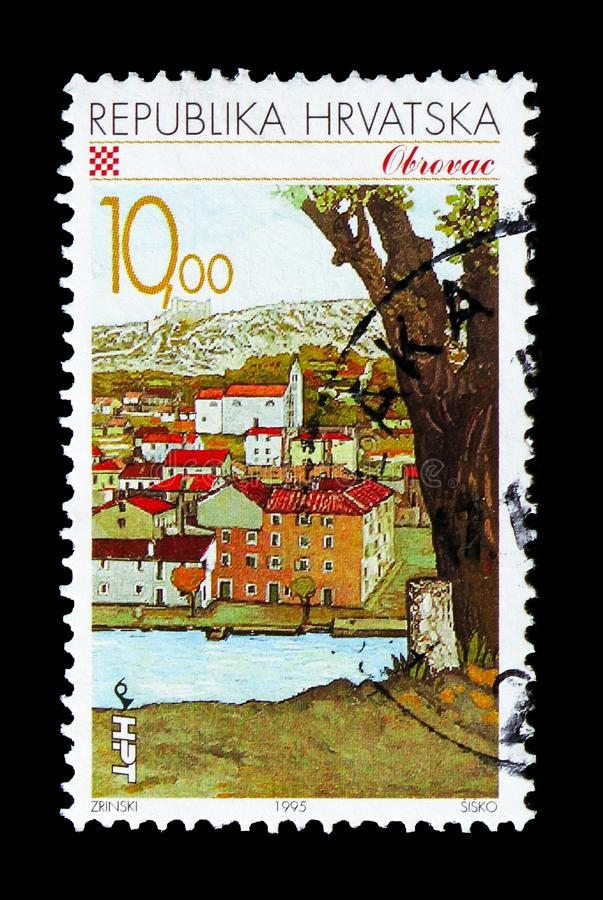 Obrovac, Croatian Towns serie, circa 1995. MOSCOW, RUSSIA - AUGUST 18, 2018: A stamp printed in Croatia shows Obrovac, Croatian Towns serie, circa 1995 stock photo