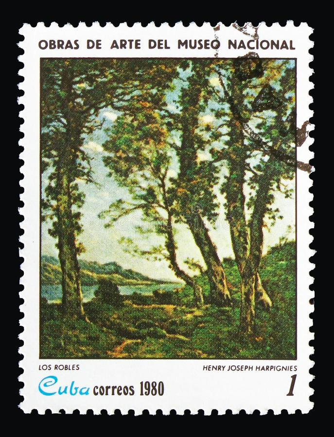 Henri-Joseph Harpignies, `Oaks`, Paintings from the National Museum. MOSCOW, RUSSIA - AUGUST 18, 2018: A stamp printed in Cuba shows Henri-Joseph Harpignies, ` royalty free stock image