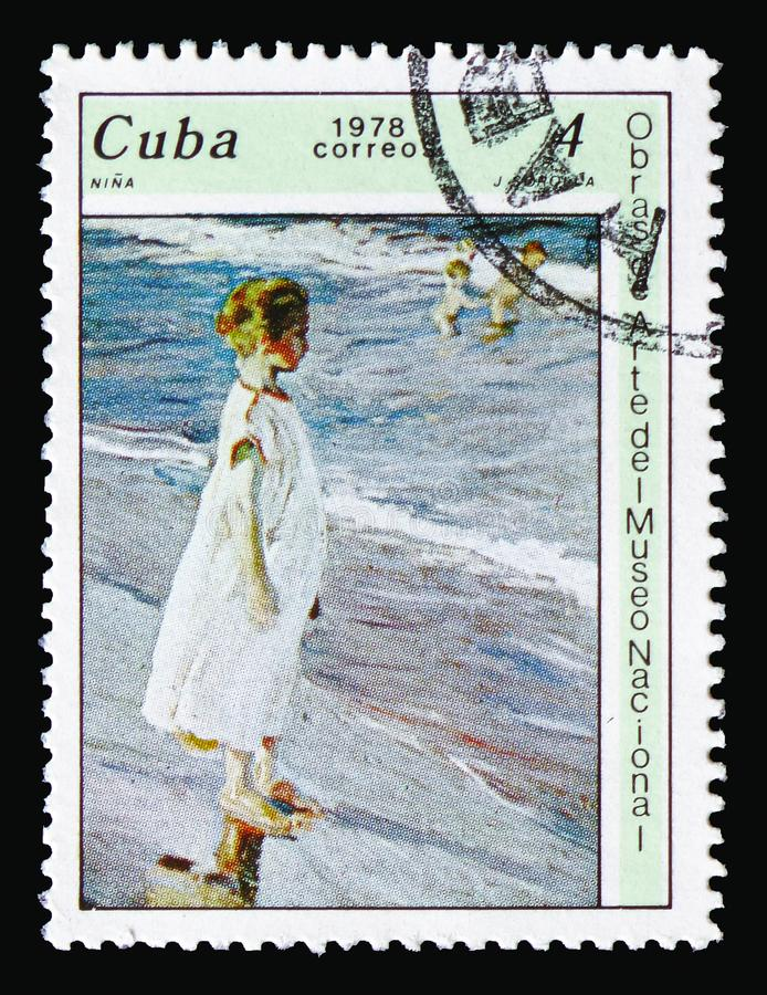Joaquin Sorolla, `Girl`, Paintings from the National Museum serie, circa 1978. MOSCOW, RUSSIA - AUGUST 18, 2018: A stamp printed in Cuba shows Joaquin Sorolla, ` royalty free stock photo