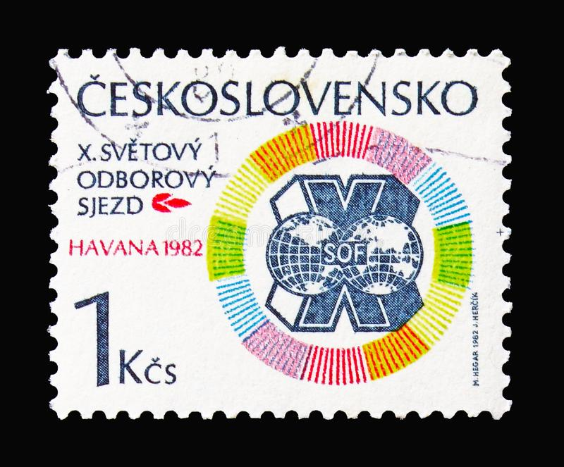 Logo of World Trade Union, Trade Unions, 10th World Congress, Ha. MOSCOW, RUSSIA - AUGUST 18, 2018: A stamp printed in Czechoslovakia shows Logo of World Trade stock image