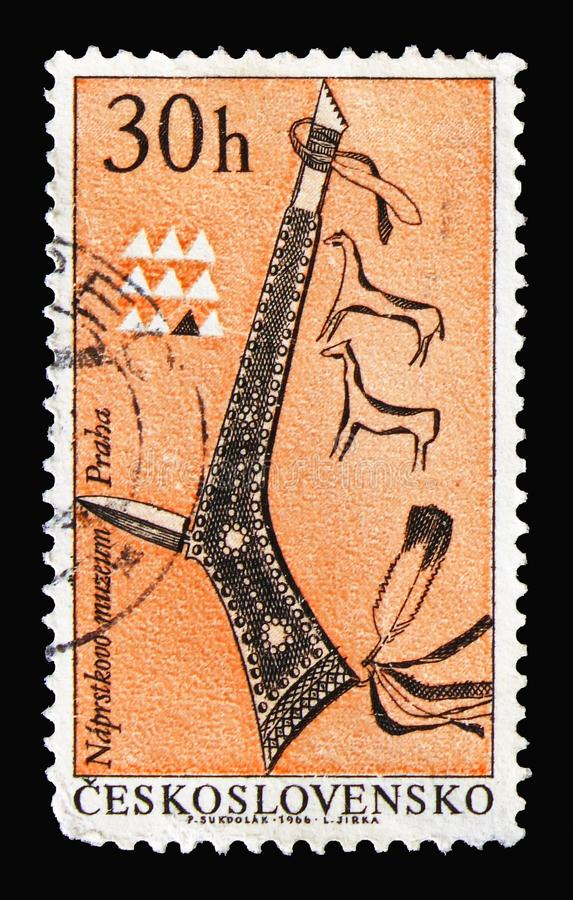 Tomahawk, Indians of North America serie, circa 1966. MOSCOW, RUSSIA - AUGUST 18, 2018: A stamp printed in Czechoslovakia shows Tomahawk, Indians of North royalty free stock photography