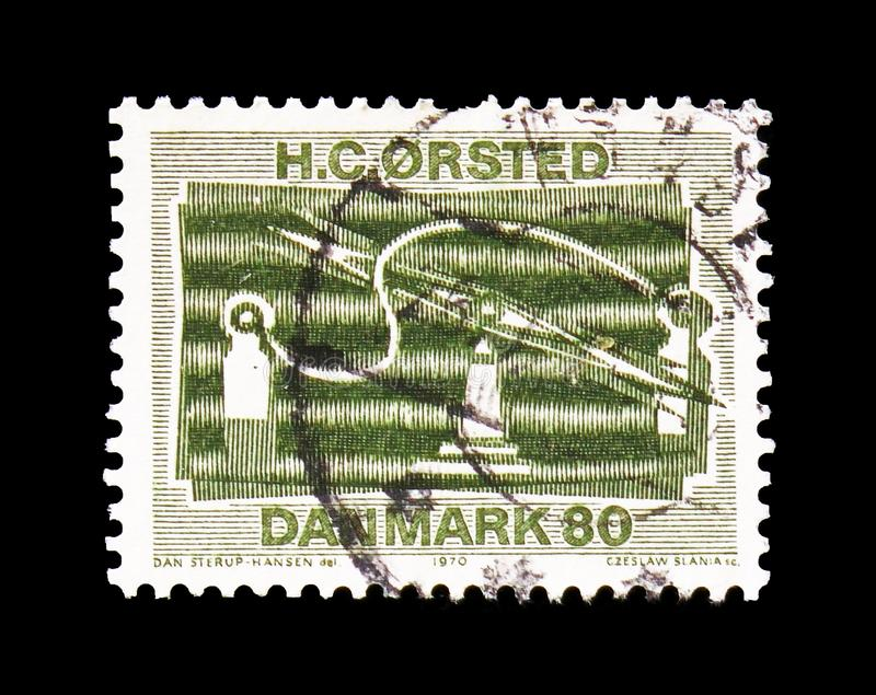 Electromagnetic Apparatus, Scientific Discoveries serie, circa 1970. MOSCOW, RUSSIA - AUGUST 18, 2018: A stamp printed in Denmark shows Electromagnetic Apparatus royalty free stock image