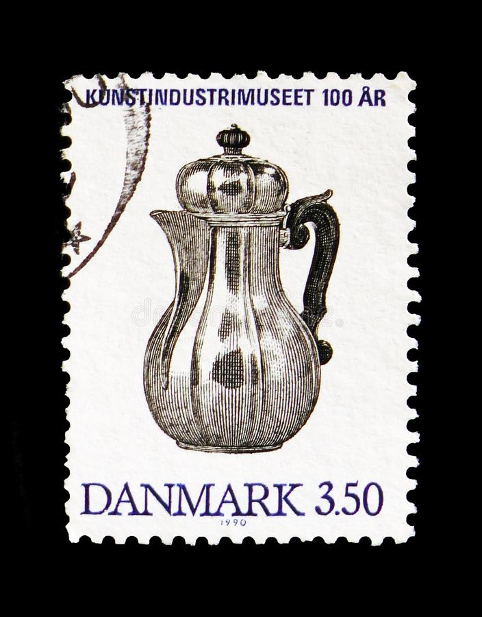 Silver Coffee Pot, 1726, Museum of Decorative Art, Copenhagen serie, circa 1990. MOSCOW, RUSSIA - AUGUST 18, 2018: A stamp printed in Denmark shows Silver Coffee royalty free stock images