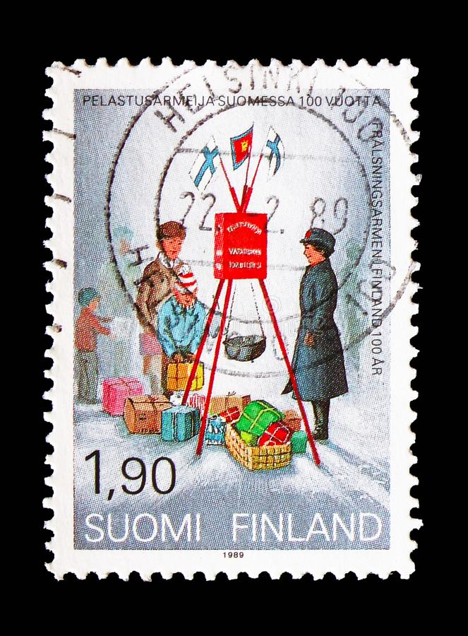 Christmas collecting by the Salvation Army, 100 Years Salvation Army in Finland serie, circa 1989 royalty free stock images