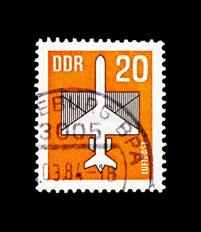 Airmail, serie, circa 1983. MOSCOW, RUSSIA - AUGUST 18, 2018: A stamp printed in Germany Democratic Republic shows Airmail, serie, circa 1983 royalty free stock image