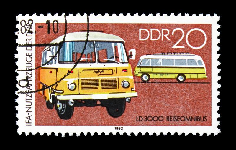 Travel Bus LD 3000, IFA: Commercial Vehicles serie, circa 1982. MOSCOW, RUSSIA - AUGUST 18, 2018: A stamp printed in Germany Democratic Republic shows Travel Bus royalty free stock images