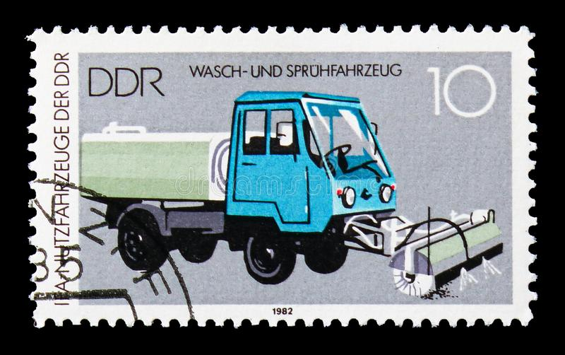 Washing and Spraying Truck M25, IFA: Commercial Vehicles serie, circa 1982. MOSCOW, RUSSIA - AUGUST 18, 2018: A stamp printed in Germany Democratic Republic royalty free stock image