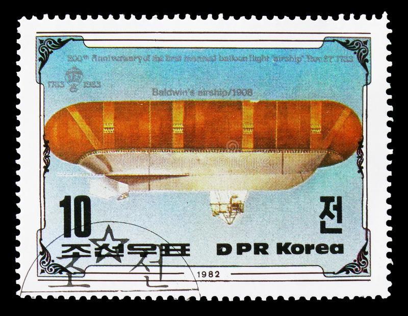 Baldwin's airship 1908, serie, circa 1982. MOSCOW, RUSSIA - AUGUST 18, 2018: A stamp printed in Korea shows Baldwin's airship 1908, serie, circa 1982 stock photo