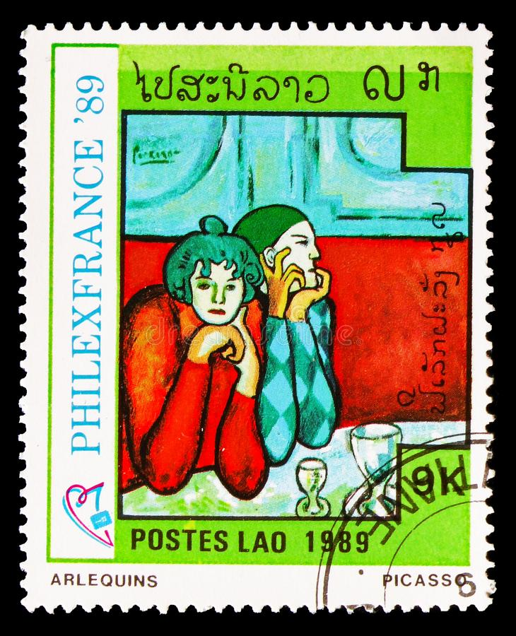 Harlequins, Philexfrance 89 international stamp exibition Paris serie, circa 1989. MOSCOW, RUSSIA - AUGUST 18, 2018: A stamp printed in Lao People's Democratic royalty free stock images