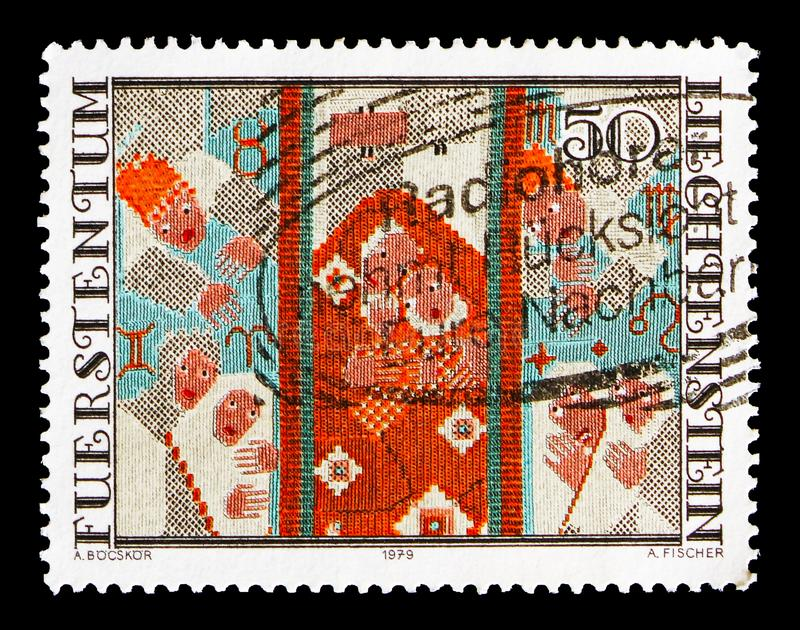 Tapistry, serie, circa 1979. MOSCOW, RUSSIA - AUGUST 18, 2018: A stamp printed in Liechtenstein shows Tapistry, serie, circa 1979 stock images