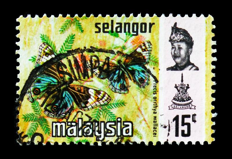 Blue Pansy (Precis orithya ssp. wallacei), Selangor serie, circa 1979. MOSCOW, RUSSIA - AUGUST 18, 2018: A stamp printed in Malaysia shows Blue Pansy (Precis royalty free stock photo