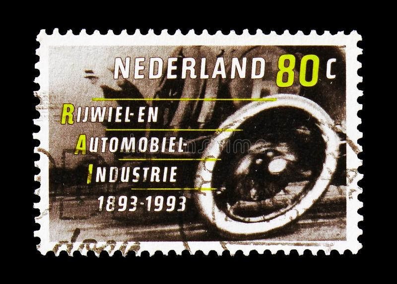 Car, RAI serie, circa 1993. MOSCOW, RUSSIA - AUGUST 18, 2018: A stamp printed in Netherlands shows Car, RAI serie, circa 1993 royalty free stock image