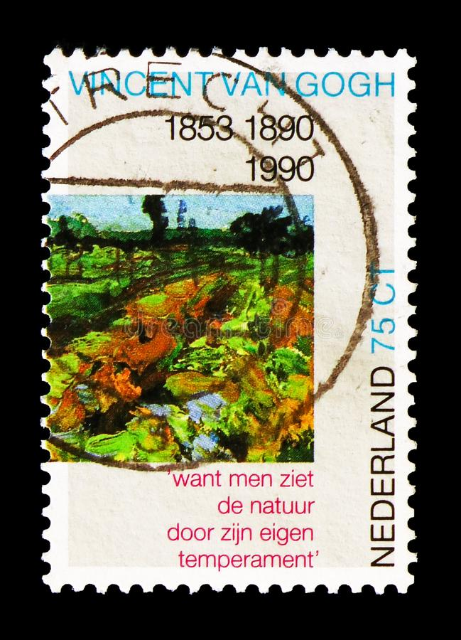 Detail of the painting 'The green Vineyard ', Vincent van Gogh serie, circa 1990. MOSCOW, RUSSIA - AUGUST 18, 2018: A stamp printed in Netherlands shows Detail royalty free stock images