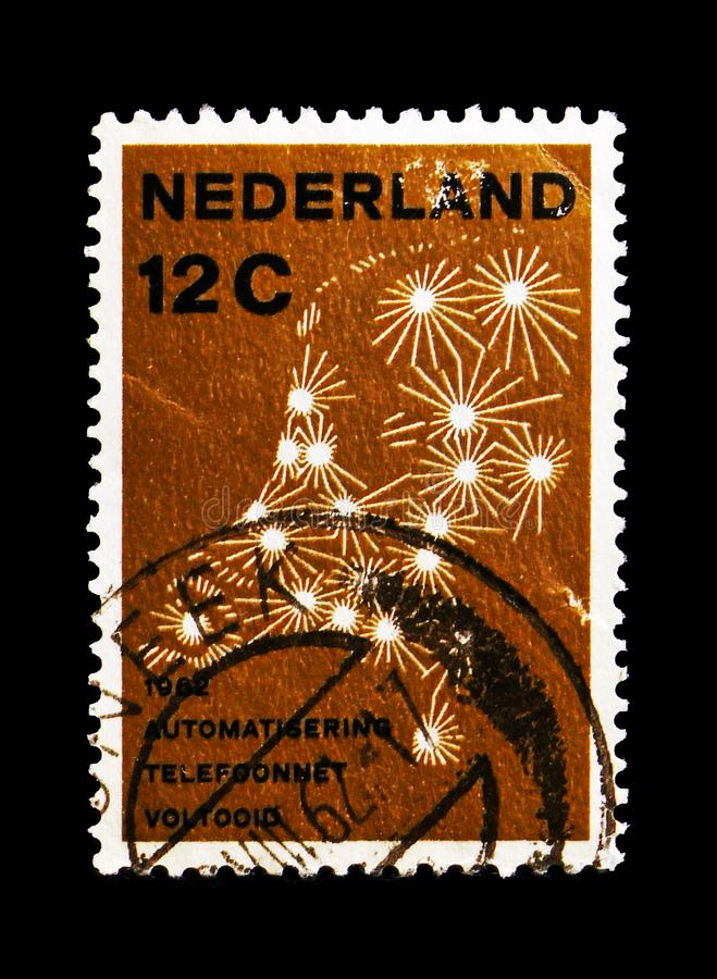 Netherlands public switched telephone network, Automatic telephone connections serie, circa 1962. MOSCOW, RUSSIA - AUGUST 18, 2018: A stamp printed in royalty free stock images