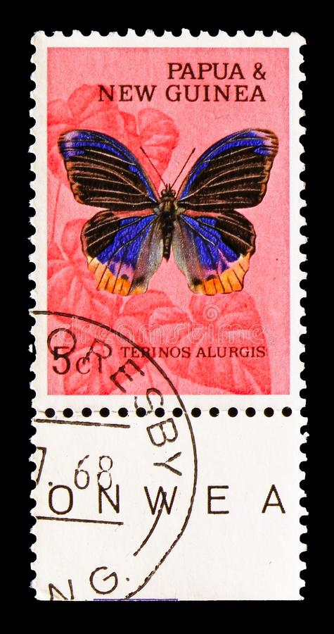 Nymphalid Butterfly (Terinos alurgis), Butterflies Definitives serie, circa 1966. MOSCOW, RUSSIA - AUGUST 18, 2018: A stamp printed in Papua New Guinea shows stock images