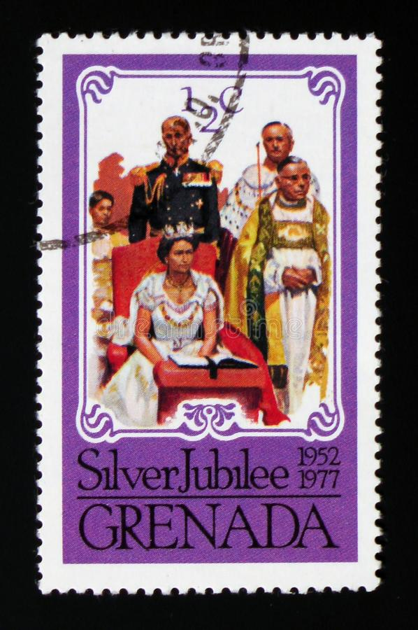 Coronation scene, Silver Jubilee serie, circa 1977. MOSCOW, RUSSIA - AUGUST 29, 2017: A stamp printed in shows Coronation scene, Silver Jubilee serie, circa 1977 stock photo