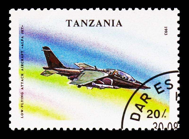 Alpha Jet, Military Aircrafts serie, circa 1993. MOSCOW, RUSSIA - AUGUST 18, 2018: A stamp printed in Tanzania shows Alpha Jet, Military Aircrafts serie, circa stock image