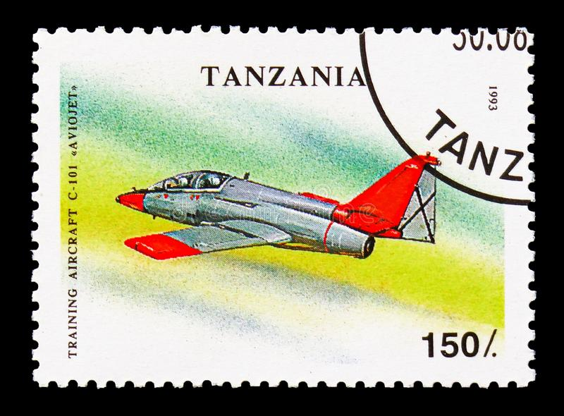 C-101 Aviojet, Military Aircrafts serie, circa 1993. MOSCOW, RUSSIA - AUGUST 18, 2018: A stamp printed in Tanzania shows C-101 Aviojet, Military Aircrafts serie royalty free stock image