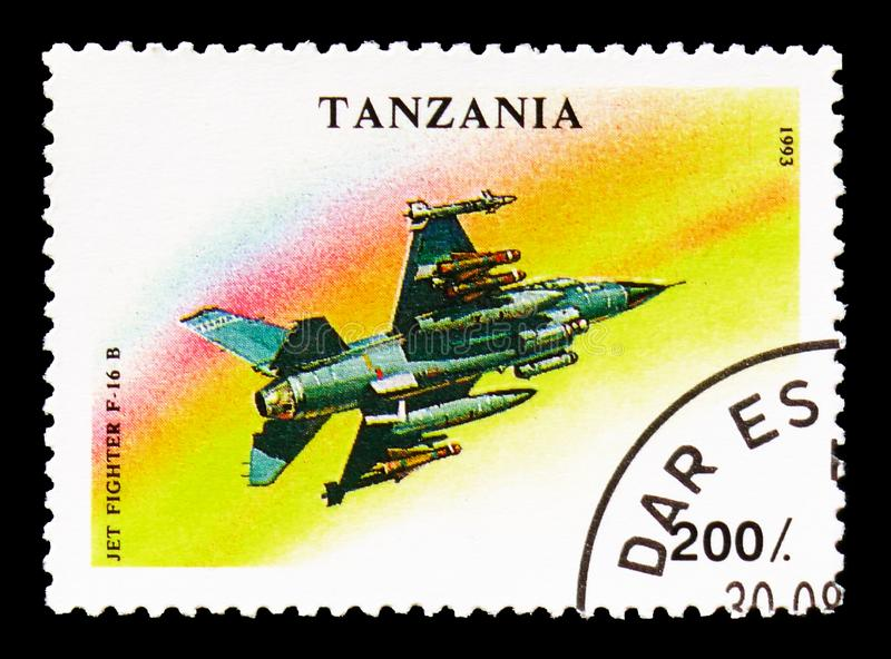 Jet Fighter F-16 B, Military Aircrafts serie, circa 1993. MOSCOW, RUSSIA - AUGUST 18, 2018: A stamp printed in Tanzania shows Jet Fighter F-16 B, Military stock photography