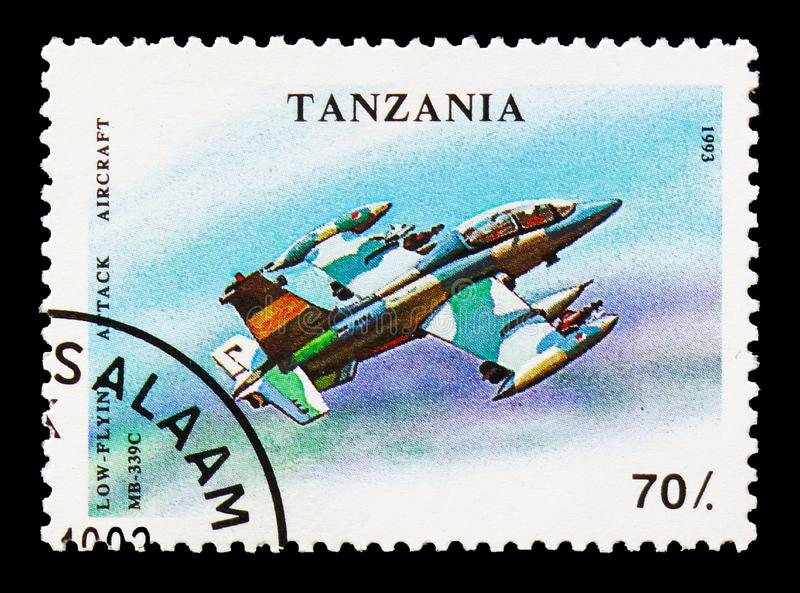 Mb-339c, Military Aircrafts serie, circa 1993. MOSCOW, RUSSIA - AUGUST 18, 2018: A stamp printed in Tanzania shows Mb-339c, Military Aircrafts serie, circa 1993 royalty free stock photography