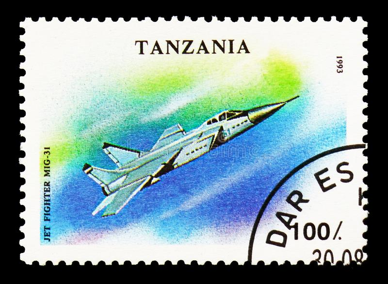 Mig-31, Military Aircrafts serie, circa 1993. MOSCOW, RUSSIA - AUGUST 18, 2018: A stamp printed in Tanzania shows Mig-31, Military Aircrafts serie, circa 1993 stock photos