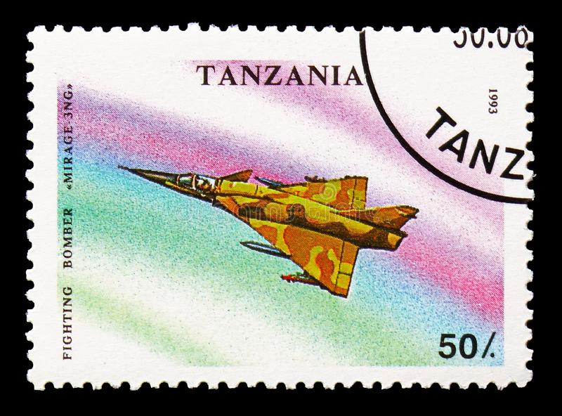 Mirage 3NG, Military Aircrafts serie, circa 1993. MOSCOW, RUSSIA - AUGUST 18, 2018: A stamp printed in Tanzania shows Mirage 3NG, Military Aircrafts serie, circa royalty free stock photo