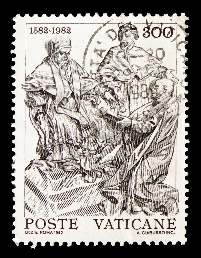 Monument to Gregory XIII, 4th centenary of the reform of the Gregorian calendar serie, circa 1982. MOSCOW, RUSSIA - AUGUST 18, 2018: A stamp printed in Vatican stock images
