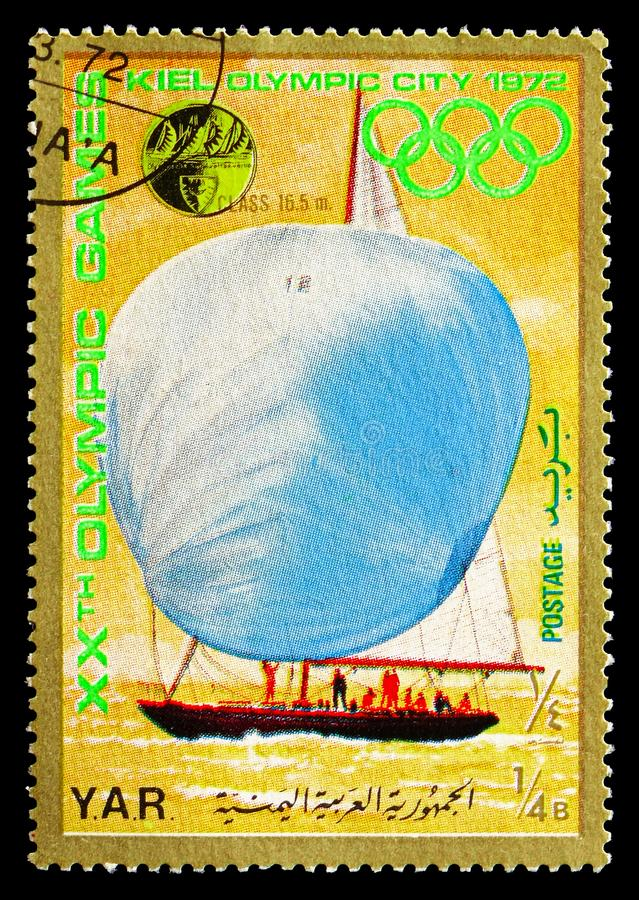 16.5 meter class Sailing, Olympic City Kiel: Sailing serie, circa 1971. MOSCOW, RUSSIA - AUGUST 18, 2018: A stamp printed in Yemen shows 16.5 meter class Sailing royalty free stock image
