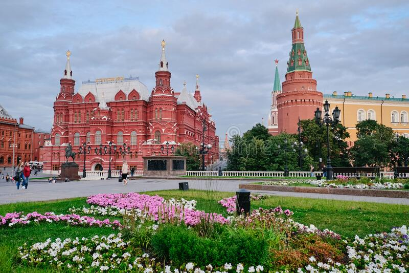 MOSCOW, RUSSIA - AUGUST, 2019: Tourists visiting The State Historical Museum of Russia on Red Square in Moscow stock image