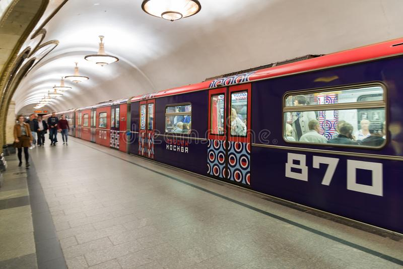 Moscow, Russia - August 31. 2017. Train dedicated to 870th anniversary of Moscow city at Novoslobodskaya metro station stock images