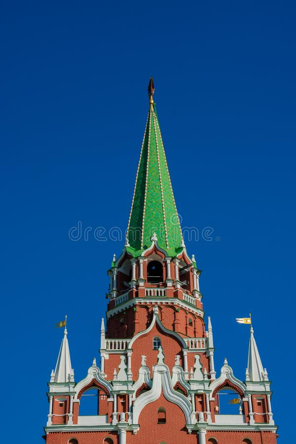 The Troitskaya Tower literally Trinity Tower. Moscow, Russia. August 25, 2018. The Troitskaya Tower literally Trinity Tower is a tower with a through-passage in stock images