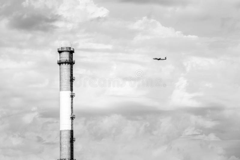 Moscow, Russia - August 23, 2016: UTair Boeing 737 took off from Vnukovo airport. Airplane ascends in the sky royalty free stock images