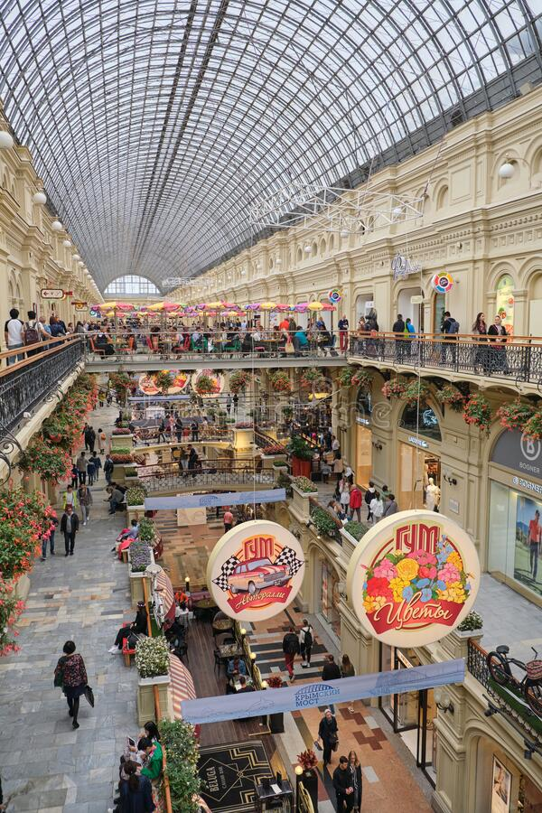 MOSCOW, RUSSIA -AUGUST, 2019: View of the galleries the second and third floors ot the State Department Store GUM inside from stock photos