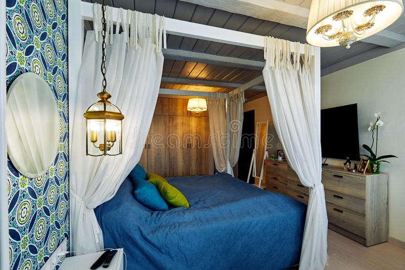 Moscow, Russia, 06.06.2018: Beautiful Furnished Bedroom with canopy in New Luxury Home stock photos