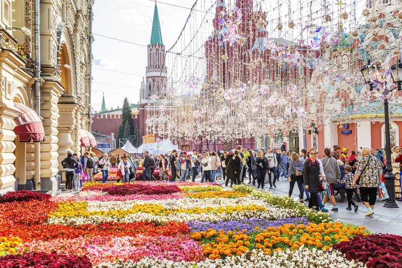 Moscow, Russia, 08/06/2019: Beautiful summer decoration of the Red Square stock photos