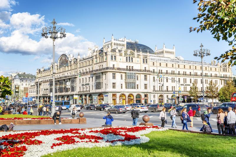 Moscow, Russia, 08/06/2019: Beautiful view of the Metropol hotel in the center of a big city stock photo