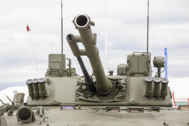 Moscow Russia 30.06.2019 Cannon with a tower. Infantry fighting vehicle stock photography