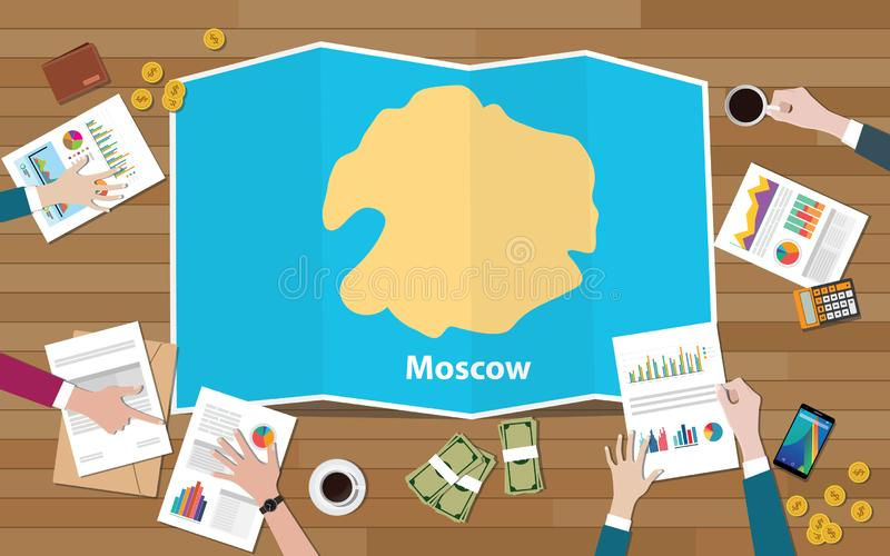 Moscow russia capital city region economy growth with team discuss on fold maps view from top vector illustration