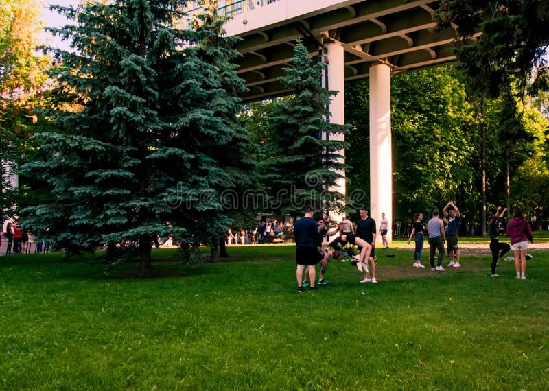 Moscow, Russia-06 01 2019: cheerleaders training in the park on the grass royalty free stock images