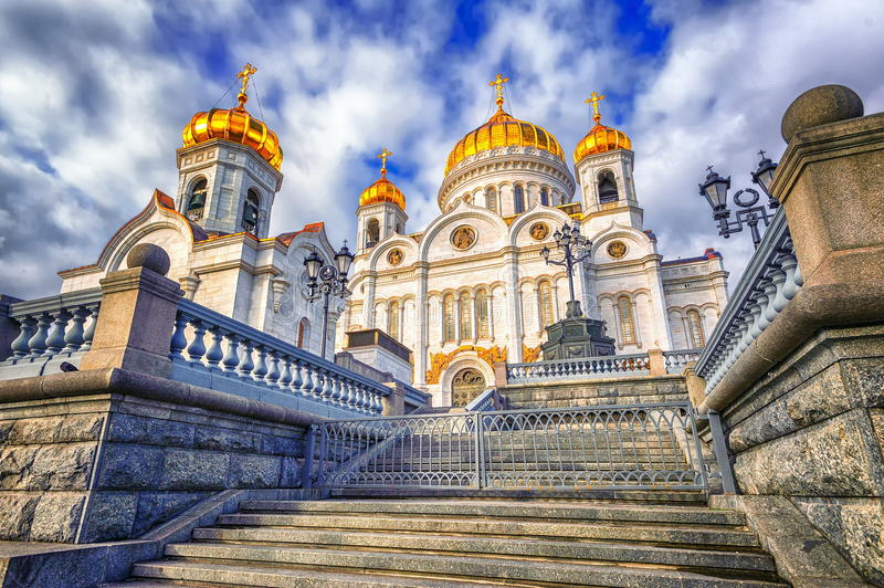 Moscow, Russia. Christian orthodox cathedral of Jesus the Saviour in Moscow, Russia