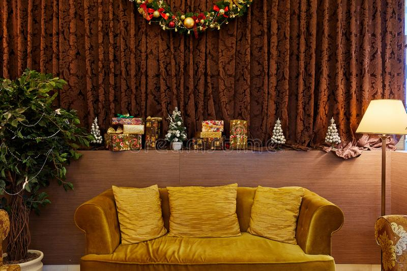Moscow, Russia, 10.12.2019, Christmas room interior, decorating ideas, room design in tan stock images