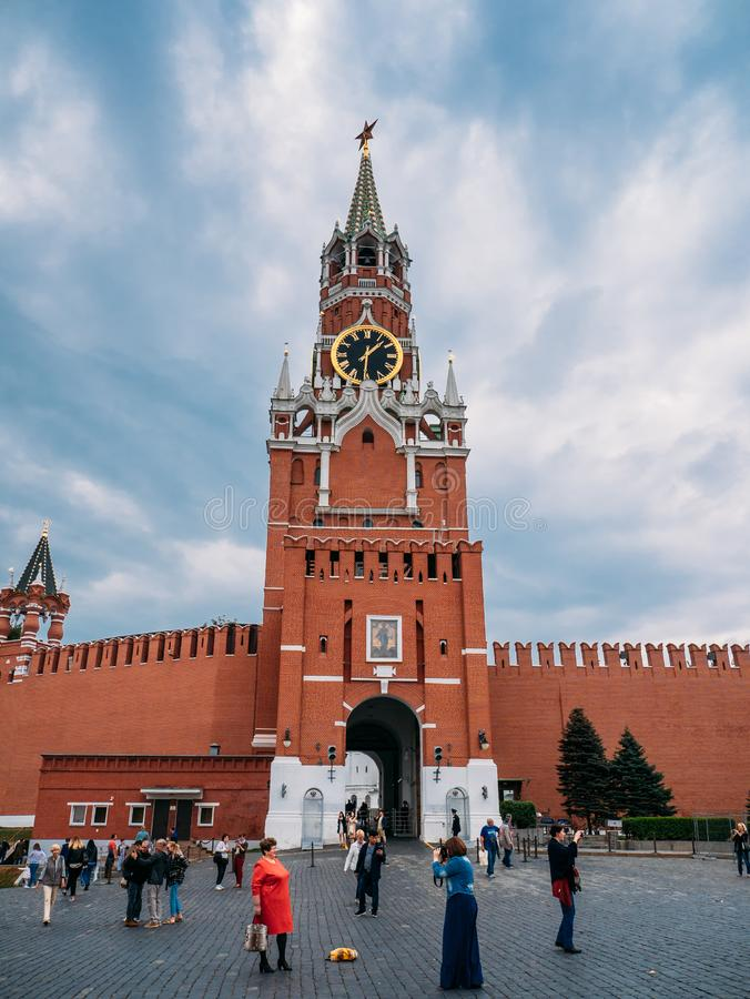 Moscow, Russia - circa September 2018 : Kremlin chimes on Spasskaya Tower of Moscow Kremlin in downtown of Russian capital royalty free stock images