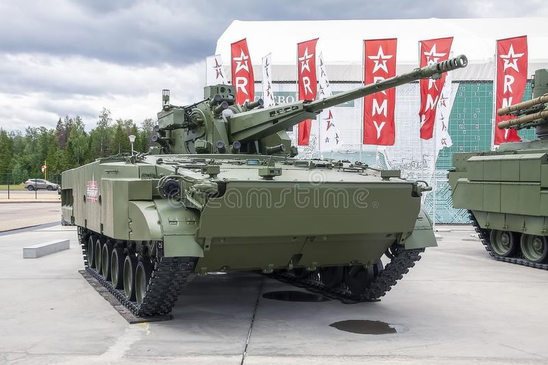Moscow Russia 30.06.2019 Close-up modern infantry fighting vehicle stock image